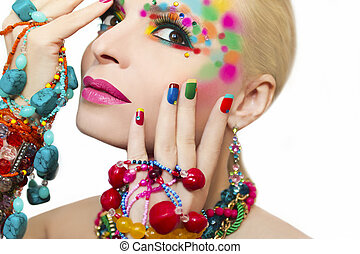 Colorful makeup and manicure.
