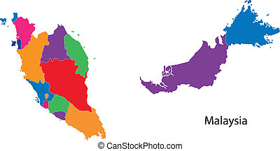 Colorful Malaysia map - Map of administrative divisions of...