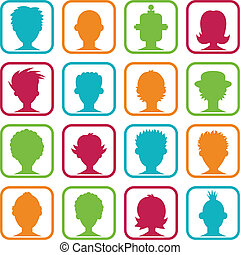 Colorful set of icons with man and woman avatars.