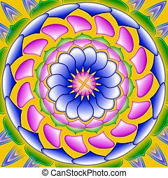 Colorful mandala, geometric drawing sacred circle