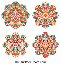 Colorful mandalas in oriental style. Set of round ethnic...