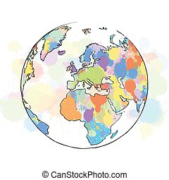 Colorful map europe globe