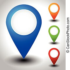 Colorful map marker, map pin icons with blank circles