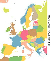 colorful map of Europe