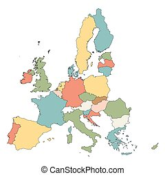 colorful map of European Union