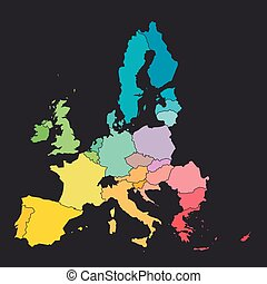 Colorful map of European Union, EU, member states. Simple ...