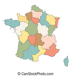 colorful map of France (all regions on separate layers)
