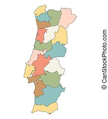 Clipart Vector Of Blue Map Of Portugal Districts On Separate - Portugal map districts