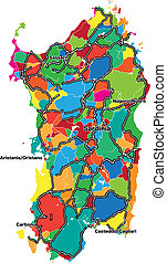Colorful map of Sardinia. Vector illustration template for...