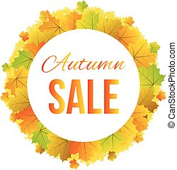 Colorful Maple Leaves Round Border Banner for Autumn Sale
