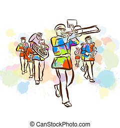 Colorful Marching Band Sketch. Hand Drawn Vector Illustration, Splatter Color Isolated on White Background. Creative Communication Concept.
