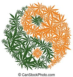 Colorful marijuana design Yin Yang cannabis leaf symbol. Vector.