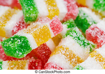 Colorful marmalade in sugar - Candy colorful marmalade in ...