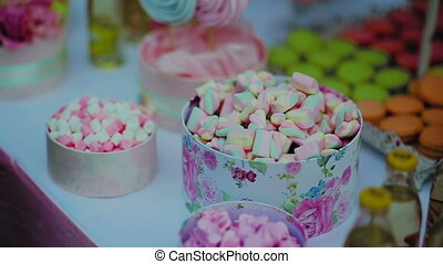 Colorful Marshmallows Candy On White Table