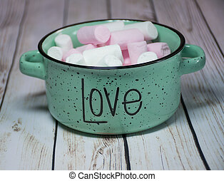 colorful marshmallows on white background