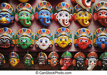 Colorful masks in Kathmandu Nepal - View of piles of...