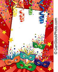 Colorful masks red background - Label carnival masks ideal...