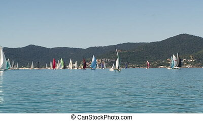 Colorful mast of sailboats - An extreme wide shot of...
