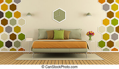 Master bedroom with hexagon decorations on wall- 3d rendering