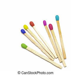 colorful matchstick isolated on white