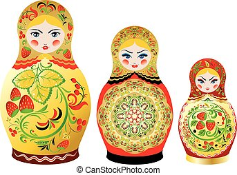 Colorful matryoshka dolls - Traditional Russian souvenir...
