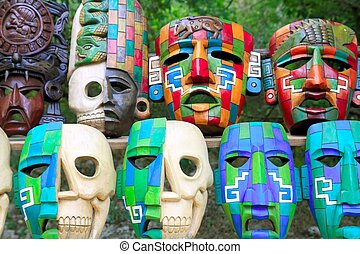 Colorful Mayan masks indian culture in Jungle - Colorful...