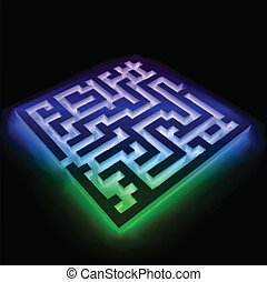 Colorful maze (labyrinth) on black background. Vector