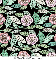 Colorful meadow watercolor flowers Seamless pattern on black background vector illustration for wallpaper, decoration, cards and textile