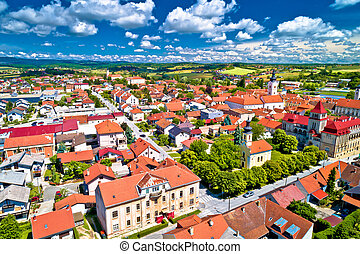 Colorful medieval town of Krizevci aerial view, Prigorje...