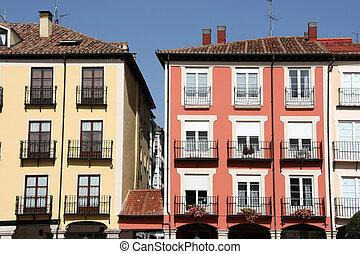Burgos - Colorful mediterranean architecture at Plaza Mayor...