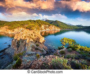 Colorful Mediterranean seascape in Turkey