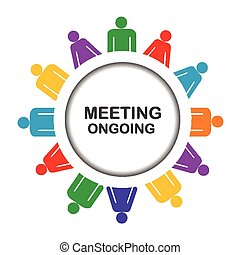 Colorful meeting ongoing icon