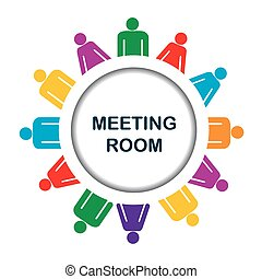 Colorful meeting room icon over white background