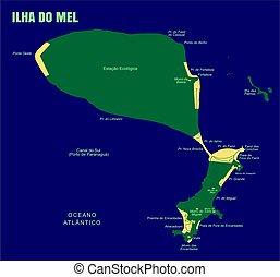 Colorful Mel Island Map, Brazil.