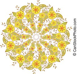 Colorful Mendie Mandala with flowers and leaves.
