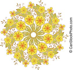 Colorful Mendie Mandala with flowers and leaves isolated on white