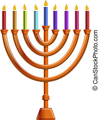 Colorful menorah candle icon, cartoon style