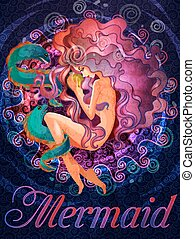 Colorful mermaid with muraena fish illustration