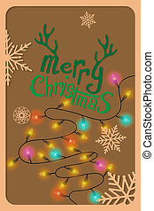 Colorful Merry Christmas card .
