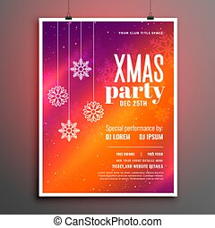 colorful merry christmas party celebration flyer design