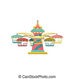 Colorful merry go round carousel, amusement park element vector Illustration on a white background