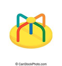 Colorful merry-go-round isometric 3d icon