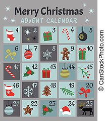 Colorful Mery Chistmas Advent calendar. Cute Christmas, winter and New Year 25 symbols and icons with numbers. Simple flat hand drawing vintage style. Doodles vector poster. Used for printing, greeting card, banner