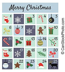 Colorful Mery Chistmas Advent calendar on white background. Cute Christmas, winter and New Year 25 symbols and icons with numbers. Simple flat hand drawing vintage style. Doodles vector poster. Used for printing, greeting card, banner