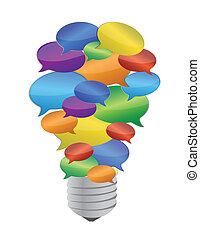 colorful message bubble bulb illustration design over white