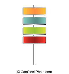 colorful metallic plaque sign post set