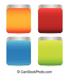 Colorful metallic squares with rounded corners and 3d effect