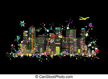 Colorful metropolis, abstract background for your design