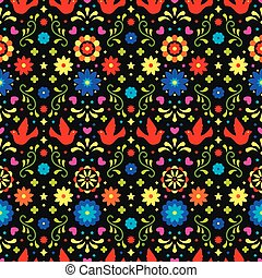 Colorful mexican flowers, leaves and birds on dark background. Traditional seamless pattern for fiesta party. Floral folk art design from Mexico. Mexican folklore ornament.