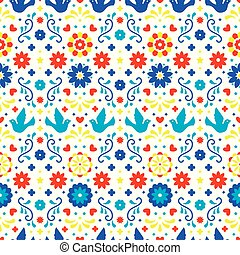 Colorful mexican flowers, leaves and birds on white background. Traditional seamless pattern for fiesta party. Floral folk art design from Mexico. Mexican folklore ornament.